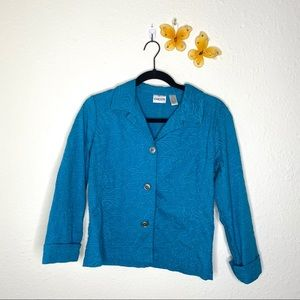 Chico's Blue Floral Embossed Cropped Jacket